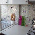 Cam Mozaik Kaplama Dekoratif Mutfak Modeli