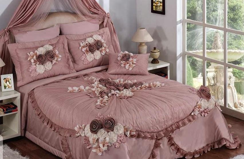 ceyizlik gosterisli yatak ortuleri
