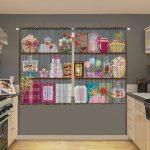 dekoratif baski desenli mutfak perdesi