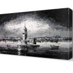 Siyah-Beyaz Kanvas Dekoratif Tablo Modelleri (28)